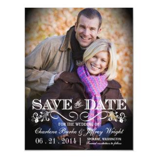 Ahorre el boda rústico de la fecha que la foto invitaciones magnéticas