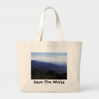 Ahorre el bolso del mundo bolsa tela grande