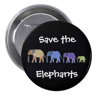 Ahorre el botón de Elelphants Pin Redondo De 3 Pulgadas