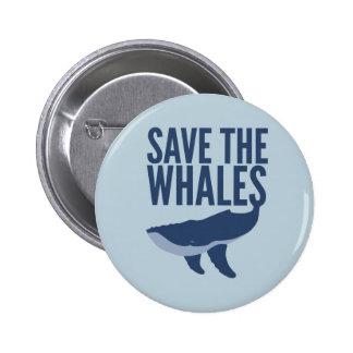 Ahorre el botón de las ballenas pin redondo de 2 pulgadas