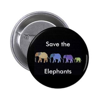 Ahorre el botón de los elefantes pin redondo de 2 pulgadas