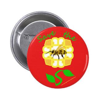 Ahorre el botón del diseño floral de las abejas