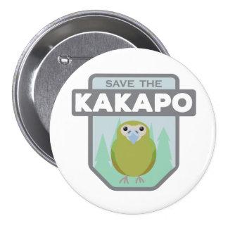 Ahorre el botón del loro del Kakapo Pin Redondo De 3 Pulgadas