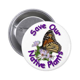 Ahorre el botón nativo del monarca de los asteres pin redondo de 2 pulgadas