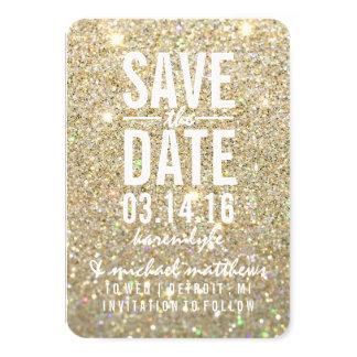 Ahorre el brillo del oro de la fecha el | fabuloso invitación 8,9 x 12,7 cm