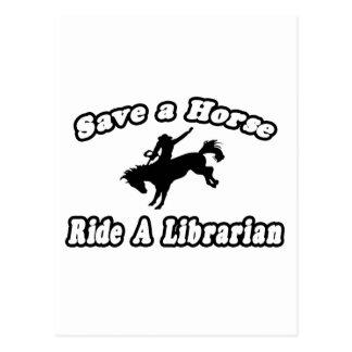 Ahorre el caballo, bibliotecario del paseo tarjetas postales