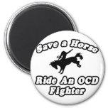 Ahorre el caballo, combatiente del paseo OCD Imán De Frigorifico
