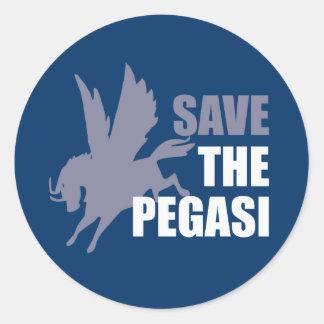 Ahorre el caballo de vuelo mítico de Pegasi Etiquetas Redondas