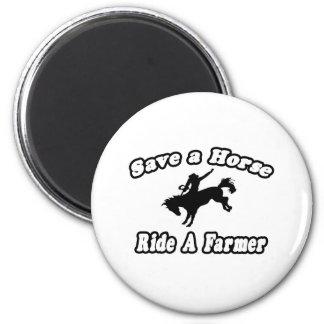 Ahorre el caballo, granjero del paseo imán para frigorífico