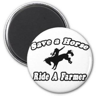 Ahorre el caballo, granjero del paseo iman para frigorífico