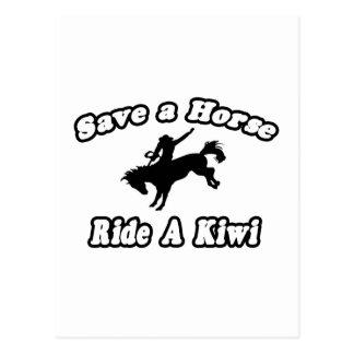 Ahorre el caballo, kiwi del paseo postal