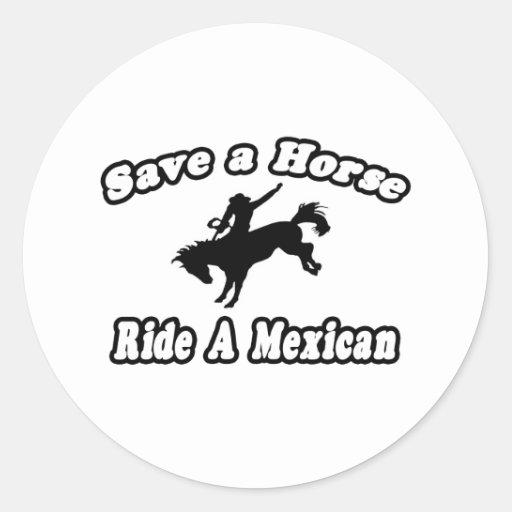Ahorre el caballo, mexicano del paseo pegatina redonda