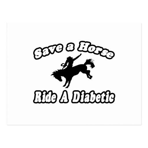 Ahorre el caballo, monte a un diabético postales