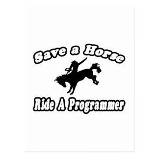 Ahorre el caballo, programador del paseo tarjeta postal