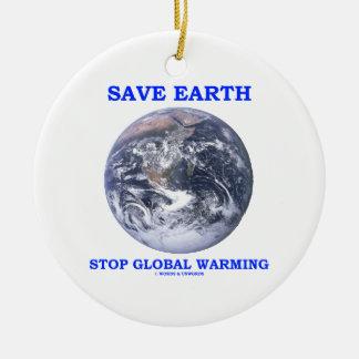 Ahorre el calentamiento del planeta de la parada adorno navideño redondo de cerámica