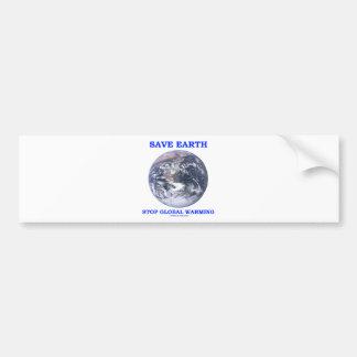 Ahorre el calentamiento del planeta de la parada d etiqueta de parachoque