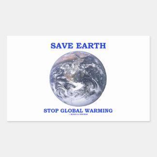 Ahorre el calentamiento del planeta de la parada d pegatinas