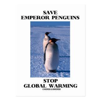 Ahorre el calentamiento del planeta de la parada d tarjetas postales
