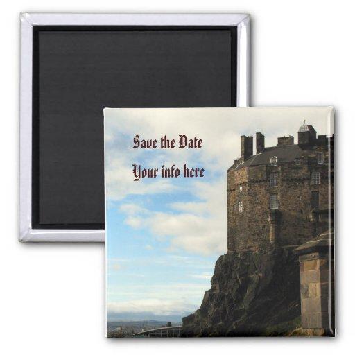 Ahorre el castillo de la fecha iman de nevera