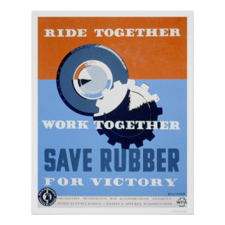 Ahorre el caucho conmutan WPA 1943 Poster
