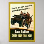 ¡Ahorre el caucho! guerra mundial del ~Vintage 2 Impresiones