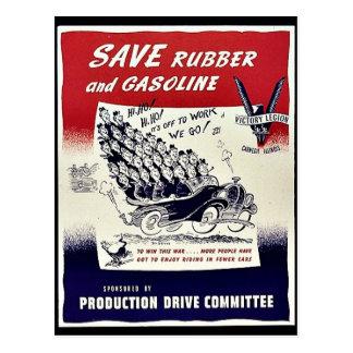 Ahorre el caucho y la gasolina tarjeta postal