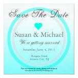 Ahorre el círculo azul claro del corazón de la invitación personalizada