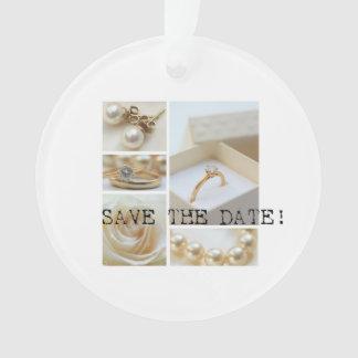 Ahorre el collage blanco del boda de la fecha