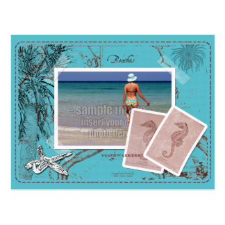 Ahorre el collage TurquoiseFrame del mapa del Postal