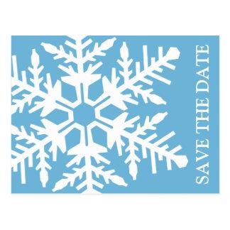 Ahorre el copo de nieve enorme de la fecha (azul d tarjetas postales