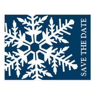 Ahorre el copo de nieve enorme de la fecha (azul m tarjeta postal