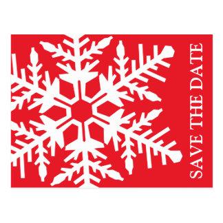 Ahorre el copo de nieve enorme de la fecha (rojo/e postales