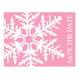 Ahorre el copo de nieve enorme de la fecha (rosa/e tarjeta postal