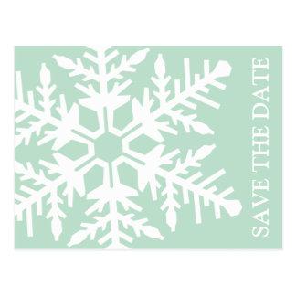 Ahorre el copo de nieve enorme de la fecha (verde  tarjetas postales