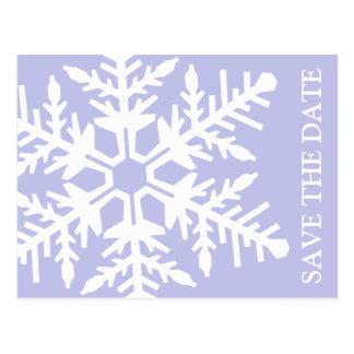 Ahorre el copo de nieve enorme de la fecha (violet tarjetas postales