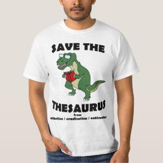 Ahorre el dinosaurio del tesauro remeras