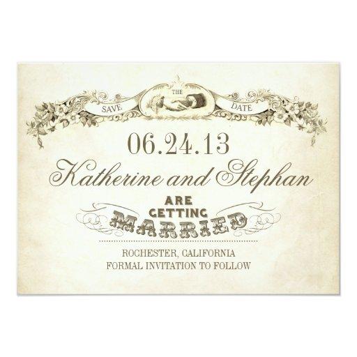 """ahorre el diseño de la tipografía del vintage de invitación 4.5"""" x 6.25"""""""
