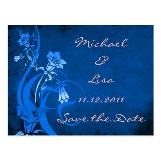Ahorre el diseño floral del azul real de la fecha tarjeta postal