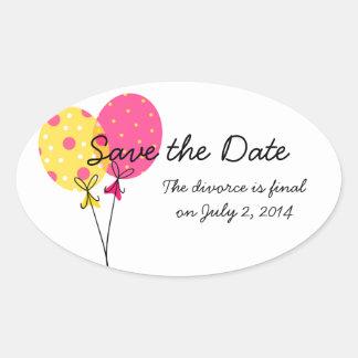 Ahorre el divorcio de la fecha será final pegatina ovalada
