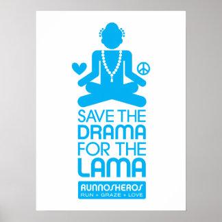 Ahorre el drama para el lama - poster azul
