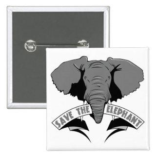 Ahorre el elefante pin cuadrado