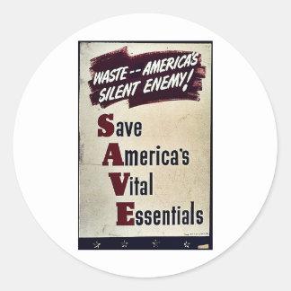 Ahorre el esencial vital de América Pegatinas Redondas