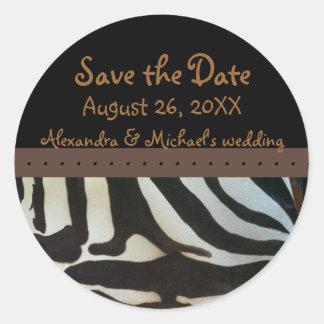 Ahorre el estampado de zebra de la fecha pegatina redonda