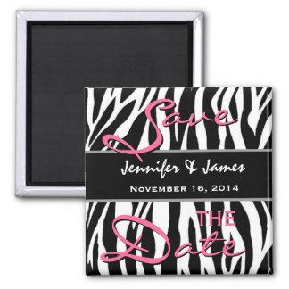 Ahorre el estampado de zebra rosado blanco del imán cuadrado