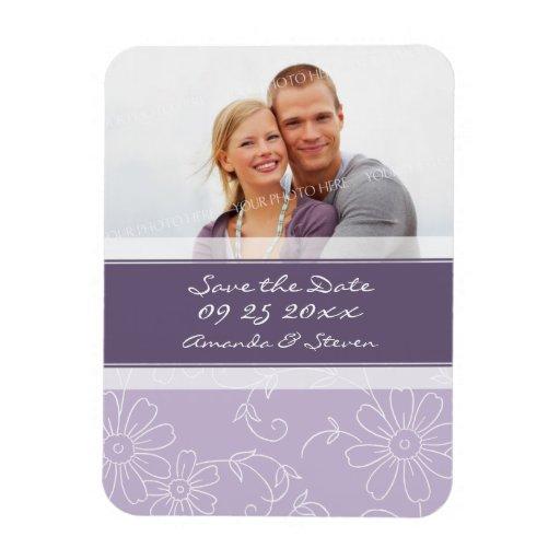Ahorre el floral púrpura del imán del boda de la f