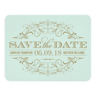 Ahorre el Flourish antiguo de la tarjeta de fecha Invitación 10,8 X 13,9 Cm