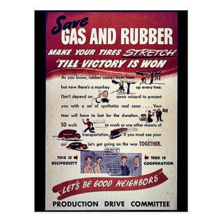 Ahorre el gas y el caucho postales