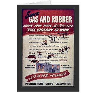Ahorre el gas y el caucho tarjeta de felicitación