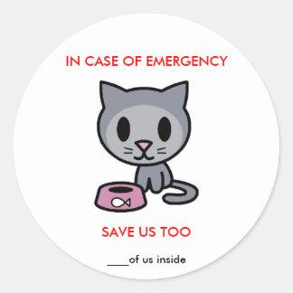 Ahorre el gato - emergencia pegatina redonda