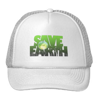 Ahorre el gorra de Logotext de la tierra